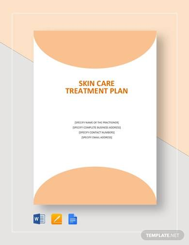 skin care treatment plan template