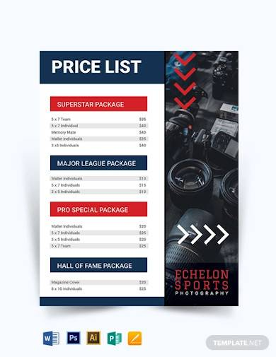 sports photography price list template