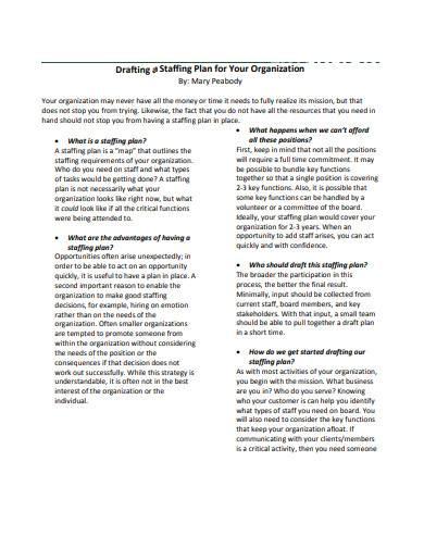staffing plan for organization