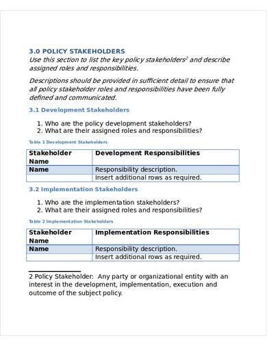 stakeholders policy template
