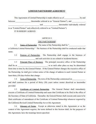standard limited partnership agreement