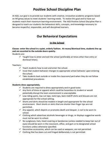 standard school discipline plan template
