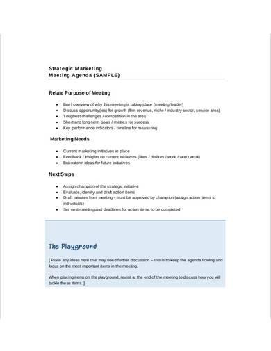 strategic marketing meeting agenda