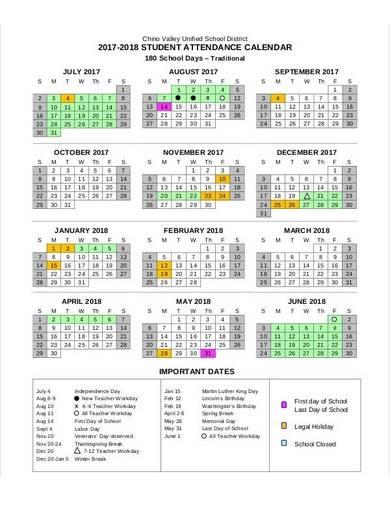 student attendance calendar template