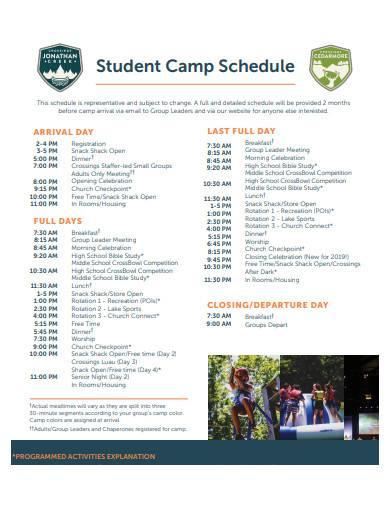 student camp schedule sample