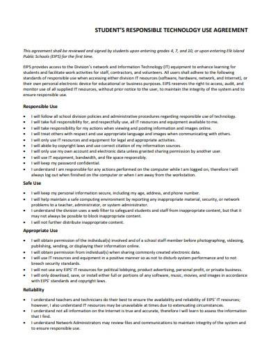 student responsible technology use agreement