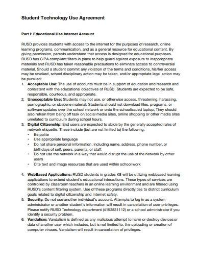 student technology use agreement sample