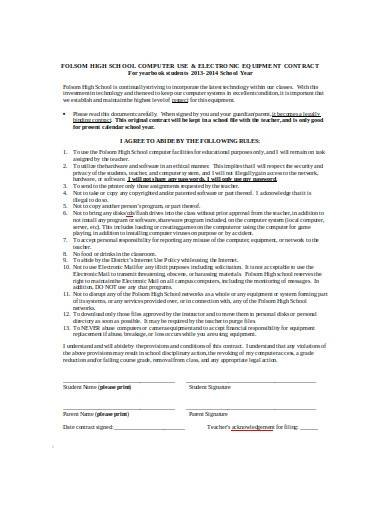student technology use agreement template