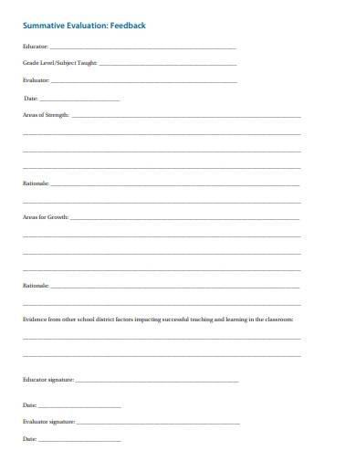 summative evaluation feedback form