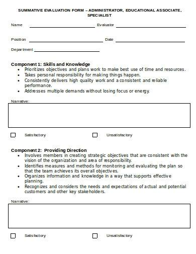 summative evaluation form template