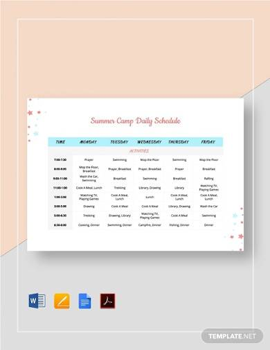 summer camp daily schedule template