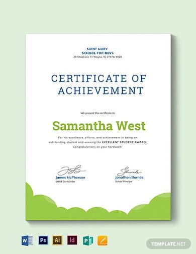 sunday school achievement certificate