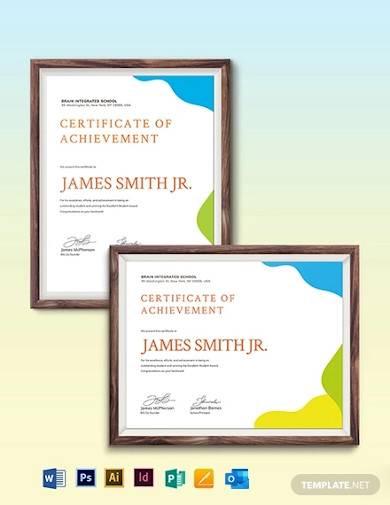 sunday school award certificate