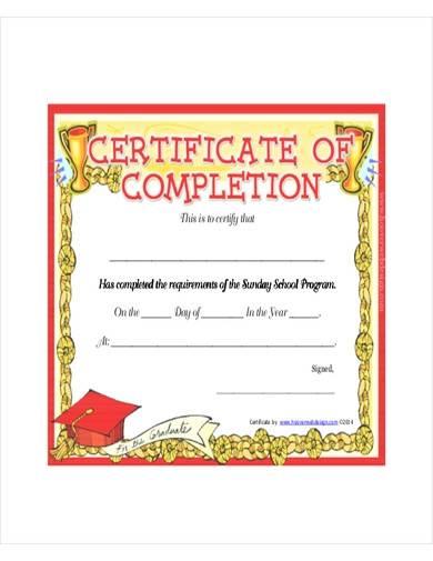 sunday school program certificate