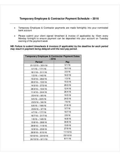 temporary contractor payment schedule