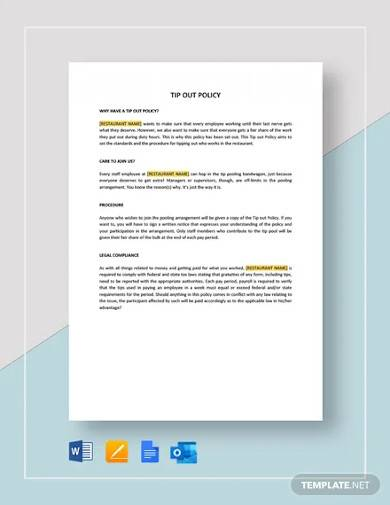 tip out policy template