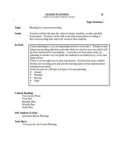 trainer lesson plan template