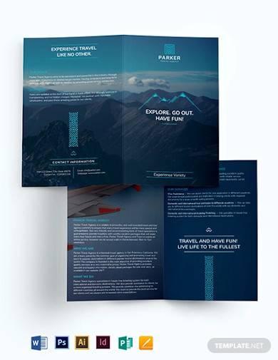 travel agency bi fold brochure
