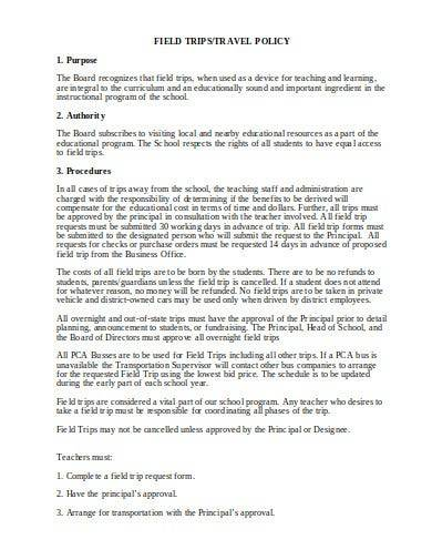 travel field trip policy template