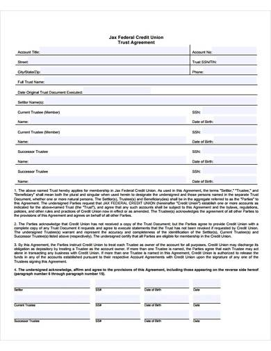 trust agreement form template