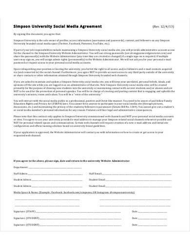 university social media agreement sample