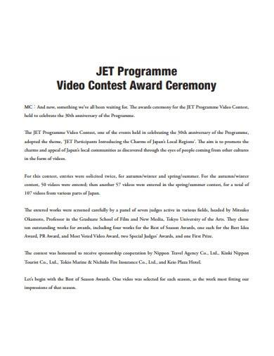 video contest award ceremony
