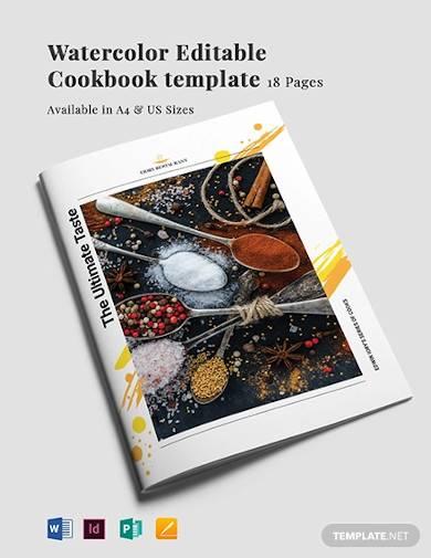 watercolor editable cookbook template