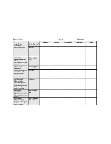 weekly librarian lesson plan template