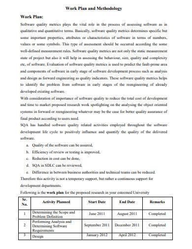 work plan and methodology template