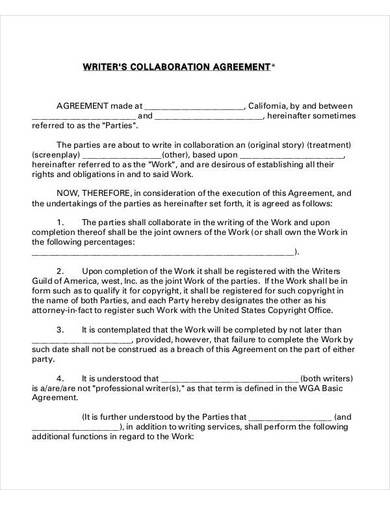 writer's collaboration agreement