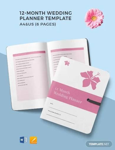 12 month wedding planner template