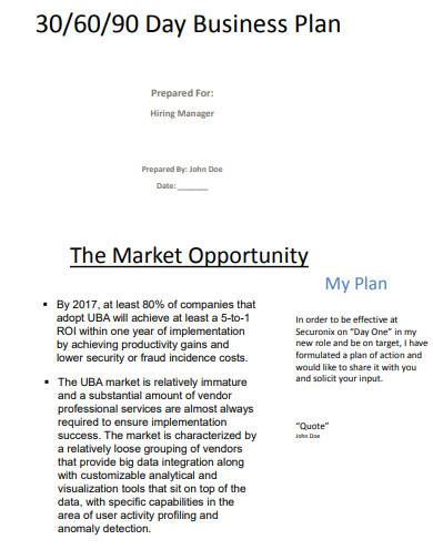 30 60 90 day business plan sample