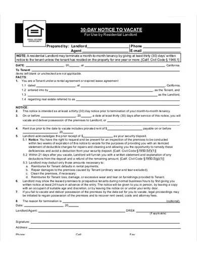 30 day notice to vacate form template