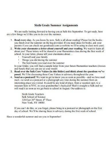 6th grade summer assignments