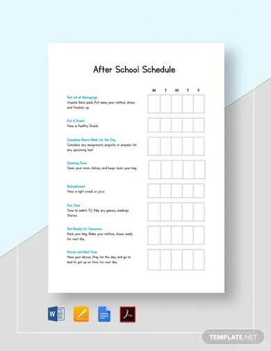 after school schedule template