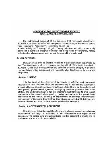 agreement for private road easement