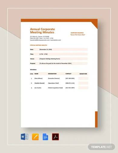 annual corporate meeting minutes template
