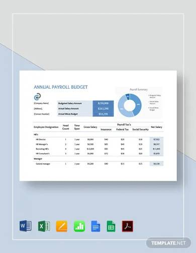 annual payroll budget template