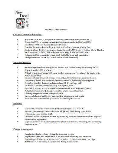 art cafe business plan template