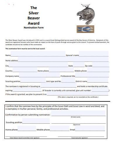award nomination form format