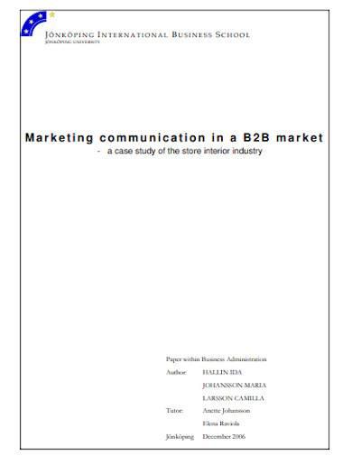 b2b marketing communication plan