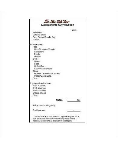 bachelorette party budget format
