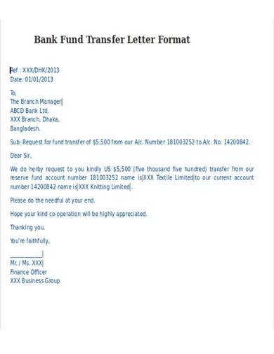 bank fund transfer letter format
