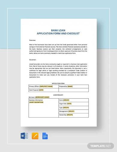 bank loan application form and checklist for restaurant