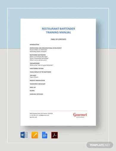 bartender training manual template