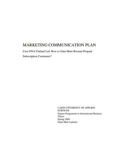 basic marketing communication plan template