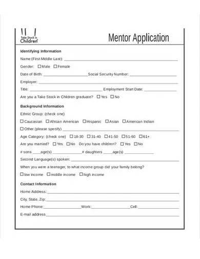basic mentor application form template