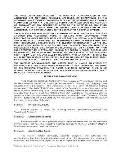 basic revenue sharing agreement