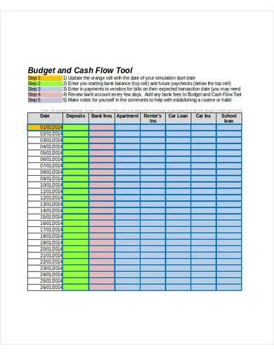 budget cash flow template