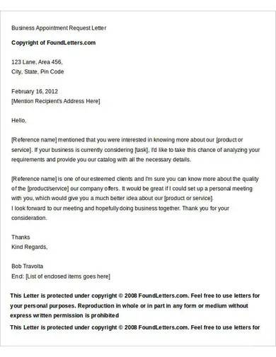 business appointment request letter
